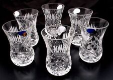 SET OF 6 Turkish Tea Chai Crystal glasses 150 ml Russian Cut Crystal  HAND MADE