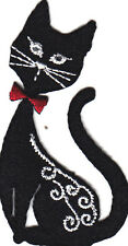BLACK CAT w/CRYSTAL EYES &RED BOW TIE-Iron On Applique, Animals, Pets, Kittens
