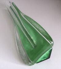 Vintage tchèque jizerske sklo triangle vase en verre.
