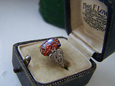 GORGEOUS VINTAGE SOLID STERLING SILVER MURANO GLASS RING SIZE K UNUSUAL RARE