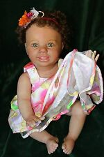 REBORN BABY VINYL REAL LIFE SIZE10 MONTHS AMELIA CRAWLER BABY HANDPAINTED ROOTED