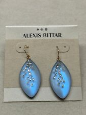 NEW Alexis Bittar Lucite Dust Long Leaf Statement Earrings ICE BLUE OPAL $120