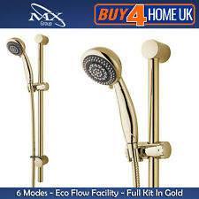 MX Gold Shower Riser Kit - Fully Adjustable Bracket 1.5m Hose Six Mode Head