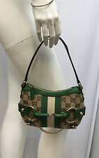 GUCCI GG LOGO CANVAS LEATHER PURSE SMALL GREEN BROWN BEIGE GOLD METAL BIT CHAIN
