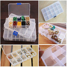 Wholesale 10 Compartment Box Acrylic Clear False Nail Tips Jewelry Storage Case