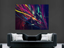 ABSTRACT TRIPPY POSTER IMAGE BRIGHT COLOUR WALL ART PRINT GIANT