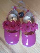 Toddler girl OLD NAVY HOT PINK PATENT RUFFLE FLOWERS crib shoes NWT 18m 24m