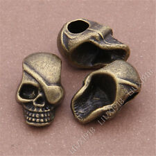 10pc Antique Bronze Pirate Skull Heads Spacer Beads Charms /Hole 5.5mm S304T