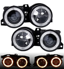 Black projector angel eye headlights front lights for BMW E30 82-94