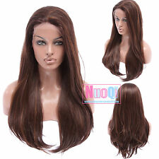 UK Ship Women Long Straight Dark Light Brown Mixed Side Part Lace Front Wig Hair