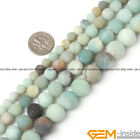 Natural Colorful Amazonite Gemstone Matte Frost Round Beads For Jewelry Making