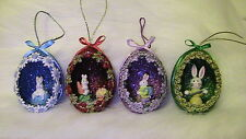 Hand Decorated REAL Duck Eggs Glittered Painted Easter Tree Gift Ornament set 4