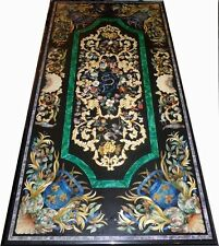 SIZE 5'X3' Black Marble Inlay Table Pietra Dura Beautiful  Florentine Style