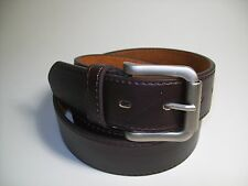 "Men Brass Color Roller Buckle 1 1/2 Width Dark Brown leather belt 34"" #108B"