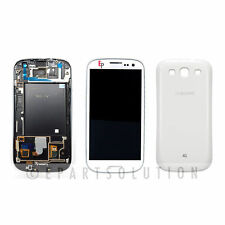 Samsung Galaxy S3 I747 T999 White LCD Digitizer w/ Frame Assembly + Back Cover