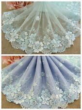 "7""*1Y Embroidered Floral Tulle Lace Trim~Lt.Aqua+Lt.Blue+Ivory~Eternal Beauty~"