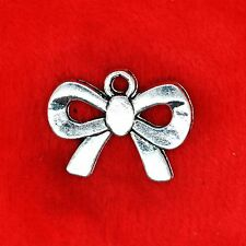 6 x Tibetan Silver Knotted Ribbon Bow GIRLY Charm Pendant Finding Beading Making