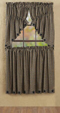 """COUNTRY BLACK APPLIQUE STAR PRAIRIE SWAG LINED CURTAINS 36"""" X 36""""X18"""" SET OF 2"""