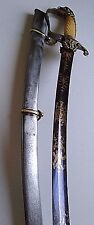 WAR OF 1812 US EAGLE HEAD OFFICER'S SWORD BLUED BLADE W GOLD ENGRAVINGS CA 1810