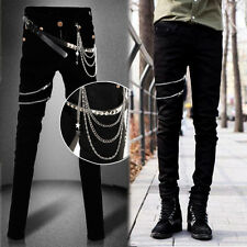 Men Chic Punk Rock Casual Trousers Slim Fit Zip Decor Skinny Stretch Jeans Rivet