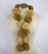 """NWT SPI Fuzzy Soft Tan Brown Angora Rabbit Fur Pom Pom Ball Stole Wrap Scarf 45"""""""