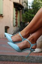 ZARA SKY BLUE HIGH HEEL MULES WITH ANKLE STRAP SIZE UK 7 EU 40