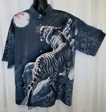 "Billion Bay Tiger Shirt Hawaiian XL 52"" White Bengal Oriental Button Front Satin"