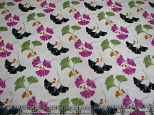 3 Yards Cotton Fabric- Quilting Treasures Waverly So Chic Ginkgo Leaves Pink Tan