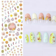 1 Sheet Dried Flowers Nail Art Water Decal Lemon Fruit Transfer Stickers DS344