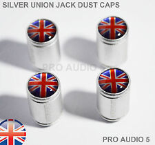 Silver Body Union Jack Dust Valve Caps Red -Car Van VW Ford Mini TVR Vauxhall UK