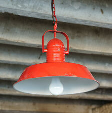 Vintage Industrial Farmhouse Aged RED METAL PENDANT LIGHT Hanging Lamp