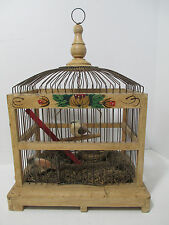 Vtg Antique Wood Wire Bird Cage Hand Painted Folk Art Tray Spring Door Dome Top