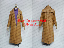 X-Men (comic) Gambit Cosplay Costume Brown Leather Coat Purple Shirt
