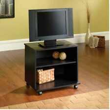 Portable TV Stand With Wheels Rolling Media Cart Black Wood Small TVs Table New