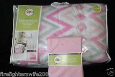 Circo Pink Zzzz's 5 piece Crib Bedding Set pink gray new