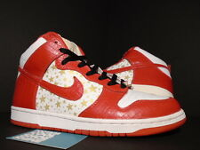 2003 Nike Dunk High Pro SB SUPREME WHITE VARSITY RED GOLD STARS 307385-161 10.5