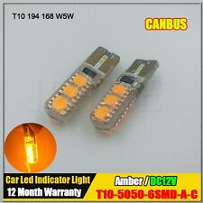 2x T10 W5W Canbus No Error 5050 Led Car Light Bulb Lamp Super Amber Yellow 12V