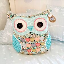 SHABBY CHIC VINTAGE STYLE PATCHWORK OWL CUSHION PASTEL BLUE GIRLS SASS & BELLE