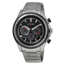 Citizen Eco Drive Black Dial Chronograph Titanium Mens Watch CA4240-82E
