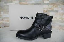HOGAN Gr 39,5 Stiefeletten booties Schuhe Reptilprint schwarz black NEU UVP390€€