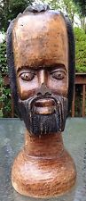 """Hand Made Carved Wood Jamaican Art Sculpture Rastafarian African Bust Statue 18"""""""