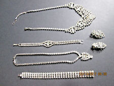 Vintage Lot Rhinestone Collection of Necklaces Bracelets & Earings