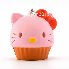 10CM Kawaii Jumbo KT Cupcake Squishy Phone Strap Soft Bread Key Bag Chain