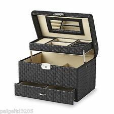 Jaclyn Smith Top Handle & Lock Clasp Closure Black Weave PVC Travel Jewelry Box