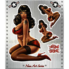 NOSE ART 50's MISS USA Pin-Up GIRL STICKER DECAL RETRO Motorcycle Car Bike Board