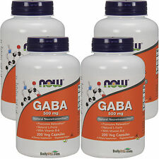 4 x NOW FOODS GABA 500 mg 200 Capsules, Promotes Relaxation, FRESH, Made In USA