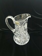 7 to 8 Inch Tall Pinwheel Pattern Violetta Made in Poland Lead Crystal Pitcher