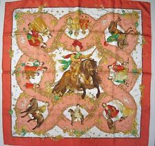 HERMES 2001 Red/Pink LES PETITS PRINCES Twill 90 carre tusch scarf by C.Baschet