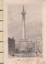 C1840 Victorian print ~ ~ le monument de Londres (pour le grand incendie de Londres)