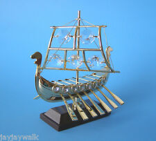 "SWAROVSKI CRYSTAL ELEMENTS ""VIKING SHIP"" FIGURINE - ORNAMENT 24KT GOLD PLATED"
